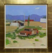 OLD FIRE TRUCK, TRUCHAS, NEW MEXICO, AN OIL BY CHARLES JAMIESON