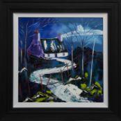 MOONLIT NIGHT AT THE CROFT, ARGYLL, AN OIL BY JOHN DAMARI