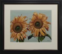 TWO SUNFLOWERS, A PASTEL BY GRAHAM MCKEAN