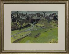 EDINBURGH OLD TOWN FROM HOLYROOD PARK, 1965, A GOUACHE BY JOHN CUNNINGHAM