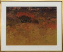 FIERY LANDSCAPE, A GOUACHE BY GEORGE DEVLIN