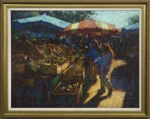 THE MARKET, A LA CROIX VALMER, AN OIL BY JOHN MACKIE