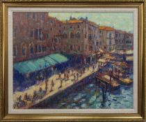 A VIEW FROM THE RIALTO, AN OIL BY JOHN MACKIE