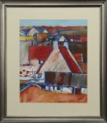 A COLLECTION OF ROOFS, A PASTEL BY PETER BOURNE