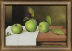 STILL LIFE OF GREEN APPLES, AN OIL BY ANDREW WALKER