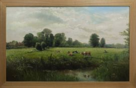 CATTLE BY THE RIVER, AN OIL BY J G MACE