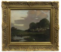 LANDSCAPE, CONTINENTAL CANAL SCENE, AN OIL BY THOMAS BONAR LYON