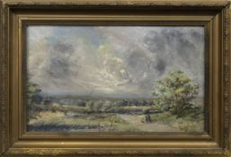 FIGURES WITH A DOG ON A COUNTRY LANE, AN OIL BY WILLIAM ALFRED GIBSON