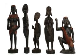 A COLLECTION OF AFRICAN WOOD CARVINGS