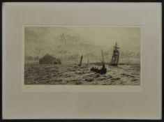 THE BASS ROCK, AN ETCHING BY WILLIAM LIONEL WYLLIE