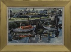 BOATS IN LOCK, A WATERCOLOUR BY WILLIAM MARSHALL BROWN