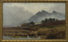CATTLE IN THE SCOTTISH HIGHLANDS, A PAIR OF OILS BY HENRY HADFIELD CUBLEY