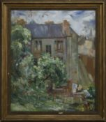 THE BACK COURT, GLASGOW, AN OIL BY MARGARET DICKSON