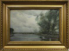 RIVER SCENE, A WATERCOLOUR BY TOM SCOTT