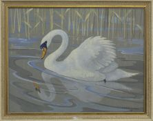 SWAN, A GOUACHE BY RALSTON GUDEON