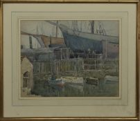THE HALL RUSSELL BOATYARD, ABERDEEN, A WATERCOLOUR BY ANDREW ARCHER GAMLEY