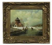COPY OF AN OLD MASTER FROZEN RIVER SCENE