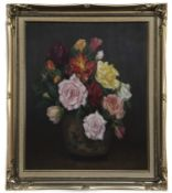 FLORAL STILL LIFE, AN OIL BY WILLIAM WRIGHT CAMPBELL