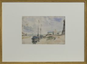 YACHT STATION, YARMOUTH, A WATERCOLOUR BY JAMES MCBEY