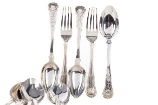 A SET OF TEN GEORGE IV SILVER TABLE SPOONS