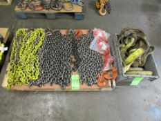 (1) Pallet of Assorted Lifting/Rigging Chain, Nylon Straps and Lifting Hooks