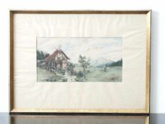 Kugler, Heinrich (1888 - ca. 1946) - Aquarell Mühle am Bach 1901