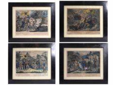 4 Biedermeier Rahmen mit Grafiken des Wilhelm Tell
