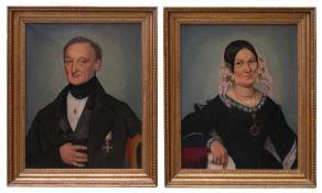 Tellgmann, Ferdinand Otto Carl (1811-1897) - Biedermeier Portrait Pendants Mühlhausen 1844