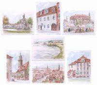 Postner, Bernhard (1924-1998) - 2 Aquarelle 5 Radierungen Ansichten aus Erlangen