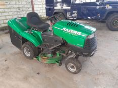 JOHN DEERE SABRE RIDE ON MOWER 1338 MODEL, NOT USED FOR 12 MONTHS - WILL REQUIRE BATTERY & SERVICE