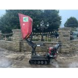 TASKMAN WALK BEHIND TRACKED DUMPER, HONDA PETROL ENGINE, HI TIP, RUNS, DRIVES & LIFTS *PLUS VAT*