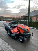 HUSQVARNA RC342T RIDE ON LAWN MOWER, RUNS, WORKS AND CUTS, SOLD NEW IN 2018, C/W GRASS DEFLECTOR