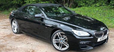 2014/14 REG BMW 640D M SPORT AUTOMATIC 3.0 DIESEL BLACK CONVERTIBLE *NO VAT*