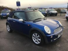 2008/08 REG MINI COOPER 1.6 PETROL BLUE CONVERTIBLE, SHOWING 3 FORMER KEEPERS *NO VAT*
