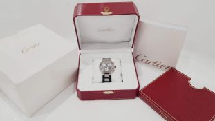 CARTIER CHRONOSCAPH GENTS WATCH WITH ORIGINAL BOX & MANUAL, STEEL AND RUBBER STRAP.