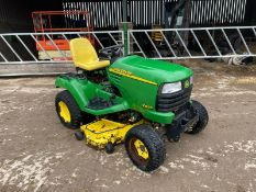 JOHN DEERE X595 RIDE ON LAWN MOWER, YANMAR 3 CYLINDER DIESEL ENGINE, UNTESTED DUE TO NO BATTERY