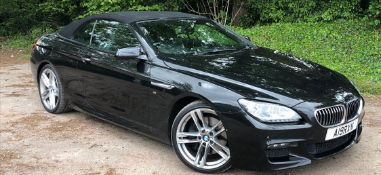 2014/14 REG BMW 640D M SPORT AUTOMATIC 3.0 DIESEL BLACK CONVERTIBLE *NO VAT*