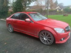 2009 MERCEDES C200 SPORT CDI AUTOMATIC 2.2 DIESEL RED 4 DOOR SALOON, SHOWING 2 FORMER KEEPERS