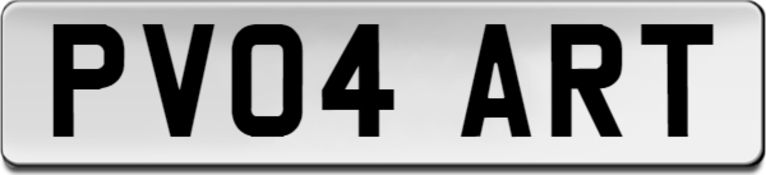PV04 ART CHERISHED NUMBER PLATE - CURRENTLY ON RETENTION *NO VAT*