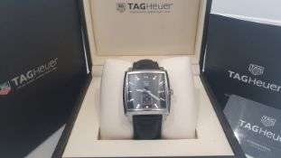 TAG HEUER MONACO MENS 37MM, WITH BOX & GUARANTEE CARD.NO VAT