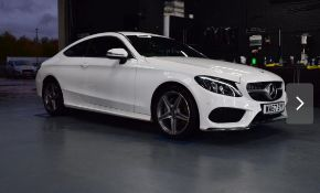 2017/67 REG MERCEDES-BENZ C200 AMG LINE 2.0 PETROL WHITE COUPE, SHOWING 1 FORMER KEEPER *NO VAT*