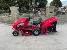 COUNTAX C600H RIDE ON MOWER WITH TRAILER AND SCARIFIER, NEW BATTERY *NO VAT*