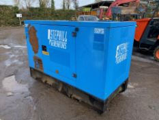 2013 STEPHILL 36KVA GENERATOR, 4442 HOURS, STARTS AND RUNS BUT CUTS OUT DUE TO SHORT SOMEWHERE