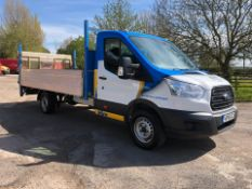 2016 FORD TRANSIT 350 WHITE DROPSIDE LORRY, 2.2 DIESEL ENGINE, SHOWING 1 PREVIOUS KEEPER *PLUS VAT*
