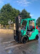 2015 MITSUBISHI FG25NT GAS FORKLIFT, RUNS, DRIVES, LIFTS, SIDE SHIFT, CONTAINER SPEC