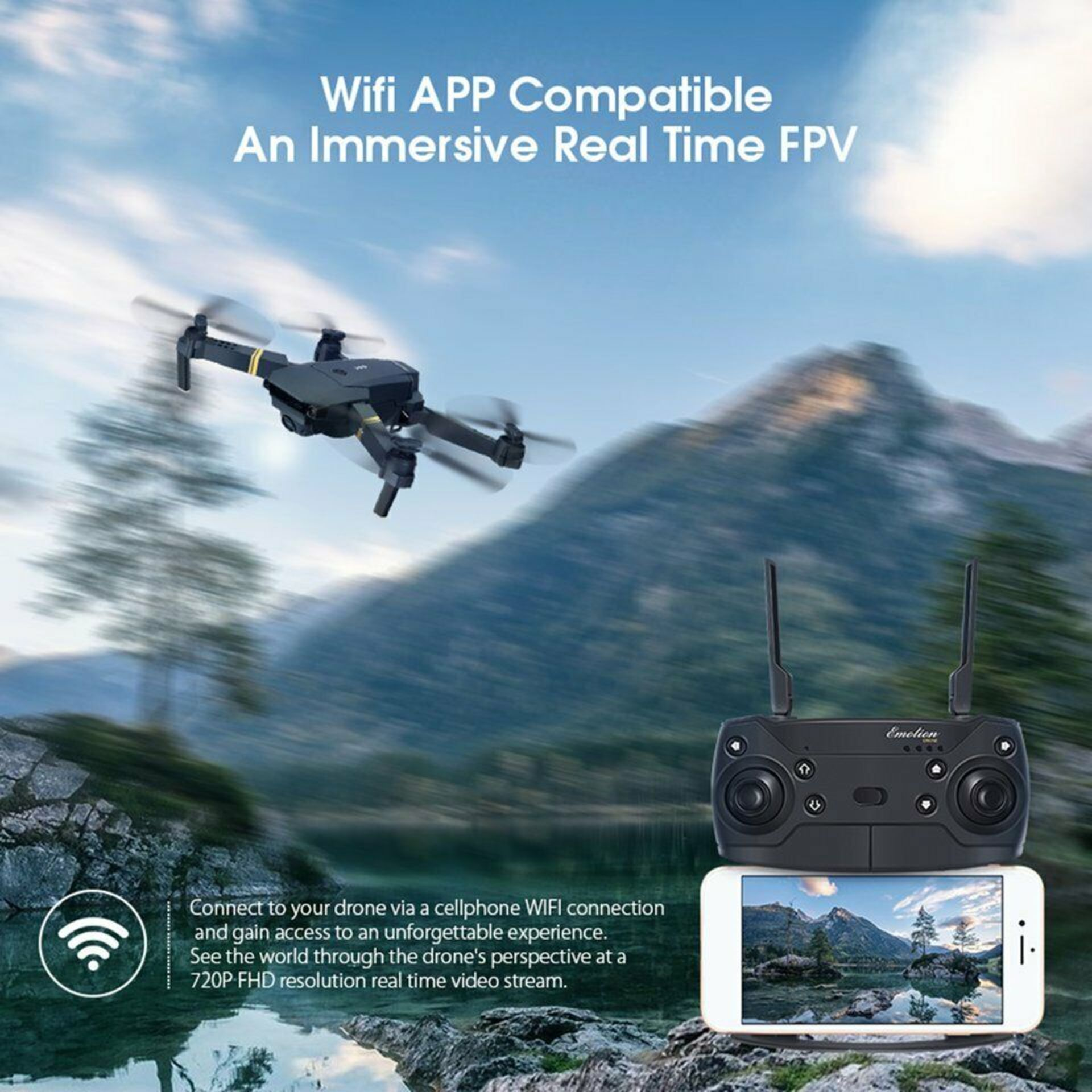 NEW & UNUSED DRONE X PRO WIFI FPV 1080P HD CAMERA FOLDABLE RC QUADCOPTER + BAG *PLUS VAT* - Image 12 of 12