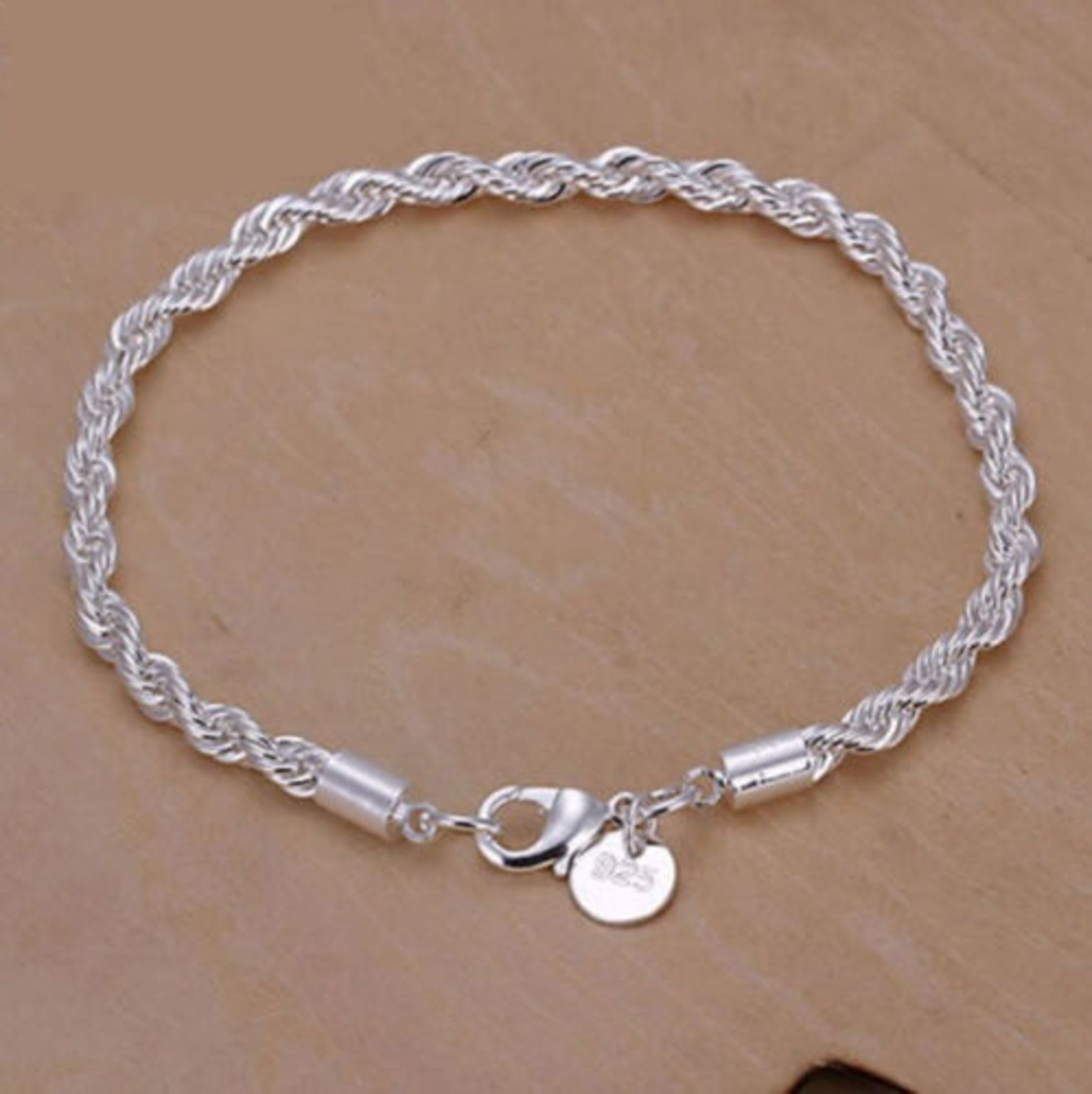 925 Sterling Silver Plated Twisted Rope Bracelet 3mm Thick Chain Link *NO VAT*