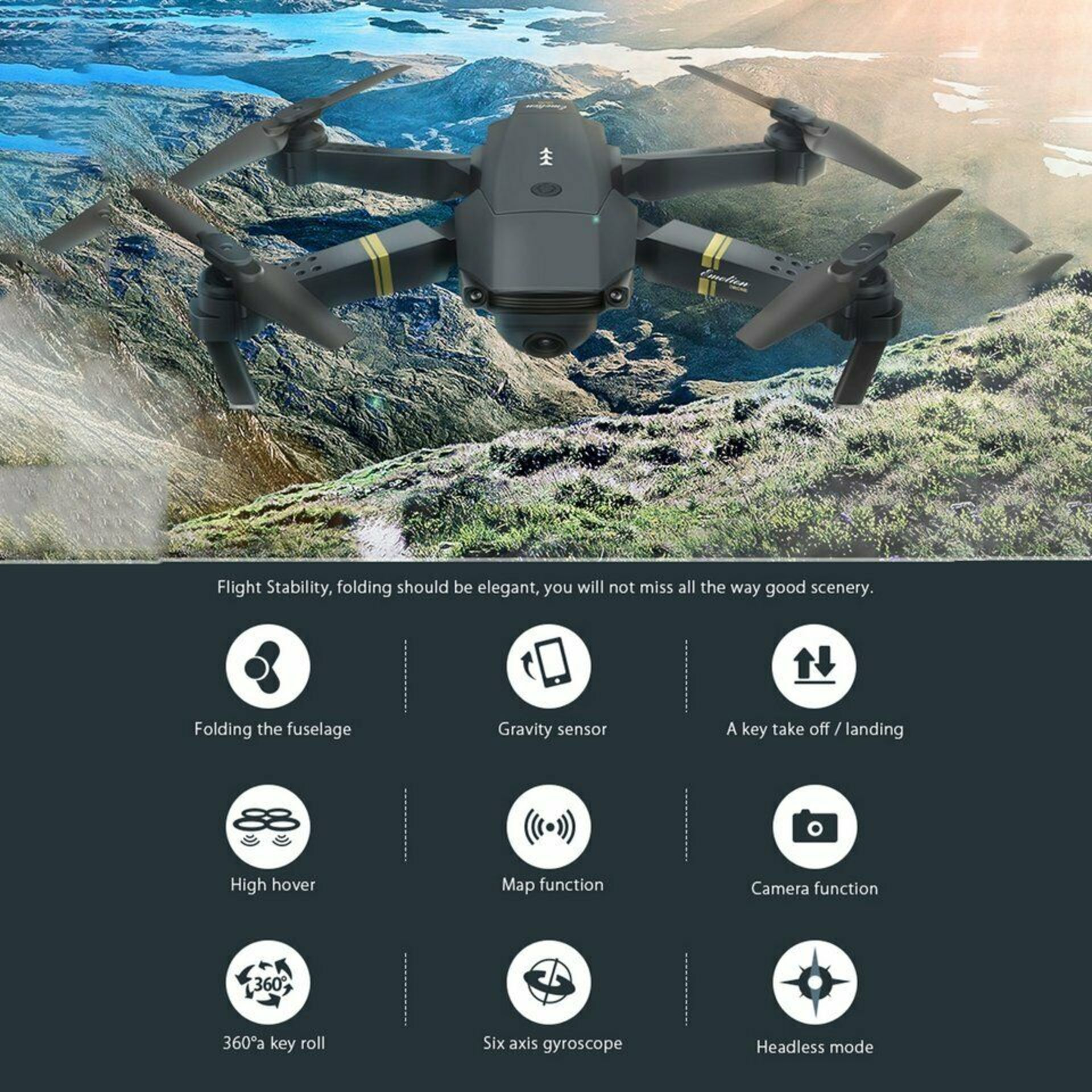 NEW & UNUSED DRONE X PRO WIFI FPV 1080P HD CAMERA FOLDABLE RC QUADCOPTER + BAG *PLUS VAT* - Image 2 of 12