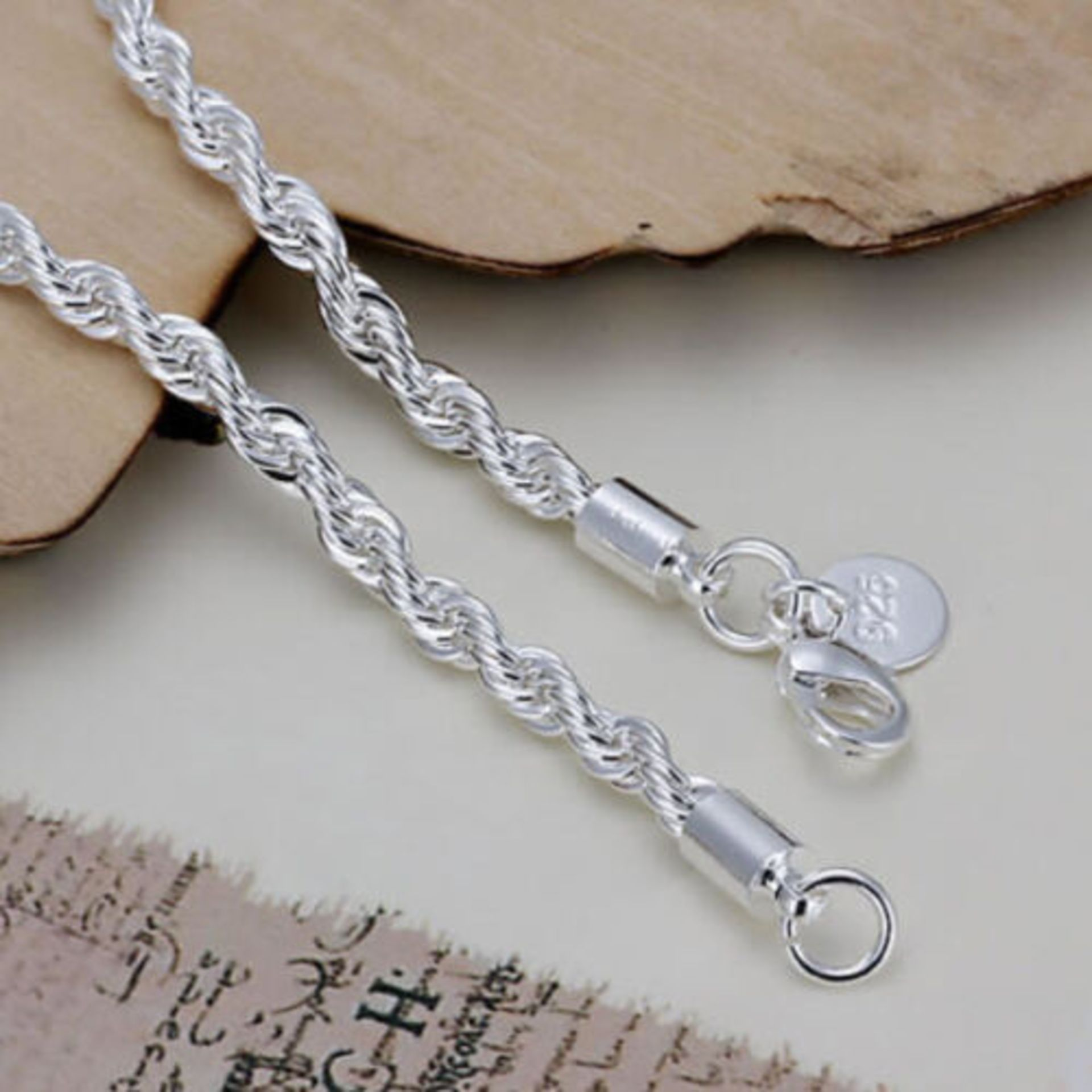 925 Sterling Silver Plated Twisted Rope Bracelet 3mm Thick Chain Link *NO VAT* - Image 2 of 4