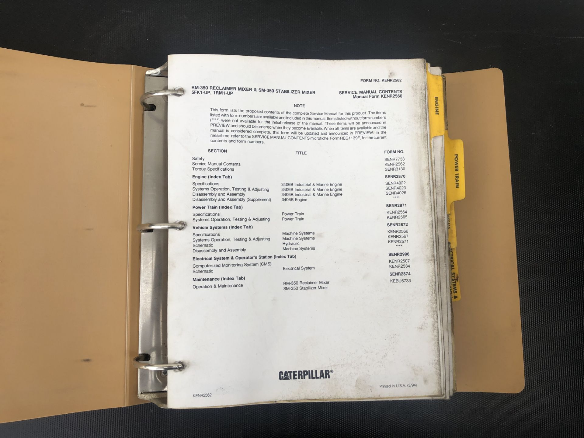 CATERPILLAR RM350 SM350 SERVICE MANUAL, GENUINE FACTORY CAT WORKSHOP MANUAL - Image 3 of 3